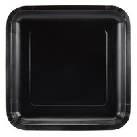 Creative Converting 463260 9 inch Black Velvet Square Paper Plate - 18 / Pack