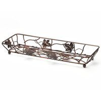 Elite Global Solutions WB6182 18 inch x 6 inch Antique Copper Rectangular Metal Leaf Wire Basket