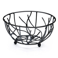 Elite Global Solutions WB94 Black Round Wire Basket - 9 inch x 4 inch