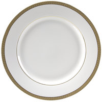 10 Strawberry Street LUX-24G 11 7/8 inch Luxor Gold Porcelain Round Charger Plate - 12/Case