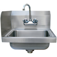 Advance Tabco 7-PS-EC-SPL 17 inch x 15 1/4 inch Hand Sink with Splash Mounted Gooseneck Faucet and Left Side Splash Guard