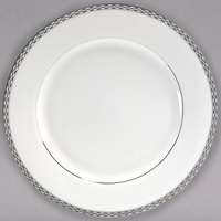 10 Strawberry Street ATH-24P 11 7/8 inch Athens Two-Tone Silver Porcelain Round Charger Plate - 12/Case