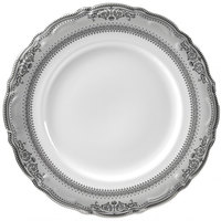 10 Strawberry Street VAN-24P 11 7/8 inch Vanessa Silver Porcelain Round Charger Plate - 12/Case