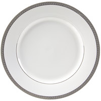 10 Strawberry Street LUX-24P 11 7/8 inch Luxor Silver Porcelain Round Charger Plate - 12/Case