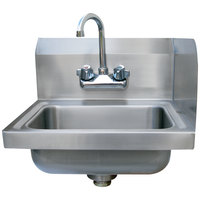 Advance Tabco 7-PS-EC-SPR 17 inch x 15 1/4 inch Hand Sink with Splash Mounted Gooseneck Faucet and Right Side Splash Guard
