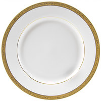 10 Strawberry Street PAR-24G 11 7/8 inch Paradise Gold Porcelain Round Charger Plate - 12/Case