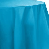 Creative Converting 703131 82 inch Turquoise Blue OctyRound Disposable Plastic Table Cover - 12/Case