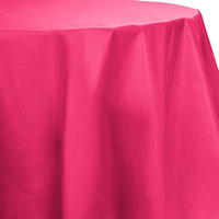 Creative Converting 703277 82 inch Hot Magenta Pink OctyRound Disposable Plastic Table Cover - 12/Case