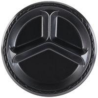Genpak LAM13-3L Elite 10 1/4 inch Black 3 Compartment Laminated Foam Plate - 125/Pack