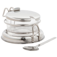 Tablecraft 357 6 oz. Glass Condiment Jar with Holder, Lid & Spoon