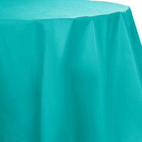 Creative Converting 703270 82 inch Tropical Teal OctyRound Disposable Plastic Table Cover - 12 / Case