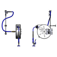 T&S B-1459 30' Enclosed Stainless Steel Hose Reel Assembly with Exposed Piping and Accessories