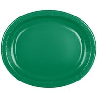 Creative Converting 433261 12 inch x 10 inch Emerald Green Oval Paper Platter - 96/Case