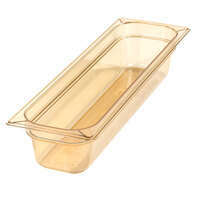 Carlisle 10441B13 StorPlus 1/2 Size Long Amber High Heat Food Pan - 4 inch Deep