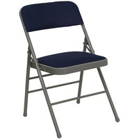 Navy Blue Metal Folding Chair with 1 inch Padded Fabric Seat