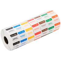 Noble Products 1 inch Dissolvable Day of the Week Labels - 1000/Roll
