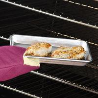 Baker's Mark Eighth Size 18 Gauge 9 1/2 inch x 6 1/2 inch Wire in Rim Aluminum Bun Pan / Sheet Pan