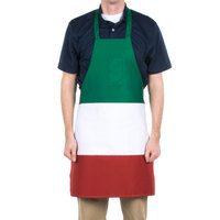 Choice Italian Three-Panel Full Length Bib Apron with Pockets - 32 inchL x 30 inchW