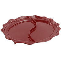 Bon Chef 2030D Queen Anne 18 3/4 inch x 24 inch Sandstone Terra Cotta Cast Aluminum Divided Oval Platter