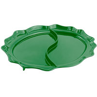 Bon Chef 2030D Queen Anne 18 3/4 inch x 24 inch Sandstone Calypso Green Cast Aluminum Divided Oval Platter