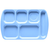GET TR-151 French Blue Melamine 10 inch x 15 1/2 inch Right Hand 6 Compartment Tray - 12/Pack
