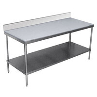 Advance Tabco SPS-307 Poly Top Work Table 30 inch x 84 inch with Undershelf and 6 inch Backsplash
