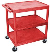 Luxor / H. Wilson HE33-RD Red 3 Flat Shelf Structural Foam Plastic Utility Cart - 24 inch x 32 inch x 33 1/2 inch