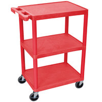 Luxor HE34-RD Red 3 Shelf Utility Cart - 18 inch x 24 inch x 32 1/2 inch