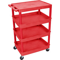 Luxor / H. Wilson RDTC2111RD Red Heavy Duty Utility Cart with 1 Upper Flat Shelf and 3 Lower Tub Shelves - 24 inch x 32 inch x 44 1/2 inch