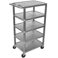 Luxor BC50-G Gray 5 Flat Shelf Structural Foam Plastic Utility Cart - 18 inch x 24 inch x 46 inch