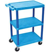 Luxor HE34-BU Blue 3 Shelf Utility Cart - 18 inch x 24 inch x 32 1/2 inch