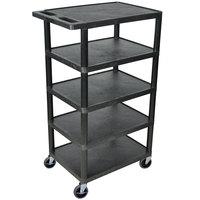 Luxor BC50-B Black 5 Flat Shelf Structural Foam Plastic Utility Cart - 18 inch x 24 inch x 46 inch