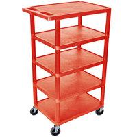 Luxor BC50-RD Red 5 Flat Shelf Structural Foam Plastic Utility Cart - 18 inch x 24 inch x 46 inch