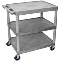 Luxor HE33-G Gray 3 Flat Shelf Structural Foam Plastic Utility Cart - 24 inch x 32 inch x 33 1/2 inch