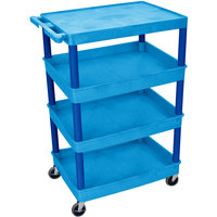 Luxor / H. Wilson BUTC2111BU Blue Heavy Duty Utility Cart with 1 Upper Flat Shelf and 3 Lower Tub Shelves - 24 inch x 32 inch x 44 1/2 inch