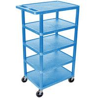 Luxor BC50-BU Blue 5 Flat Shelf Structural Foam Plastic Utility Cart - 18 inch x 24 inch x 46 inch