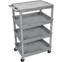 Luxor TC2111-G Gray Heavy Duty Utility Cart with 1 Upper Flat Shelf and 3 Lower Tub Shelves - 24 inch x 32 inch x 44 1/2 inch