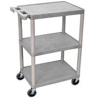 Luxor HE34-G Gray 3 Shelf Utility Cart - 18 inch x 24 inch x 32 1/2 inch