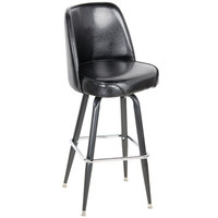 Lancaster Table &amp&#x3b; Seating Deluxe Black Barstool with 19 inch Wide Bucket Seat