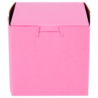 Southern Champion 807 4 inch x 4 inch x 4 inch Pink Cake / Bakery Box - 200/Bundle
