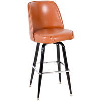 Lancaster Table & Seating Deluxe Brown Barstool with 19 inch Wide Bucket Seat