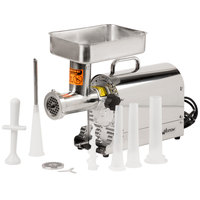 Weston 08-1201-W #12 Meat Grinder with 2 Plates and 3 Funnels