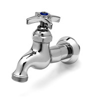 T&S B-0718 Single Sink Faucet with 1/2 inch NPT Male Inlet, 4 Arm Handle, Blue Index, and 3/4 inch Garden Hose Outlet