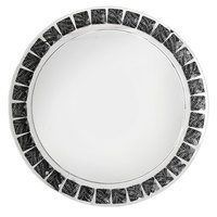 The Jay Companies 13 inch Round Black and White Beaded Mirror Glass Charger Plate