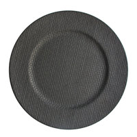 The Jay Companies 13 inch Round Gray Fabric Melamine Charger Plate