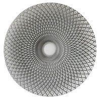 The Jay Companies 1470325 12 3/4 inch Round Edge Silver Glass Charger Plate