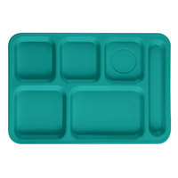 Cambro PS1014414 Penny-Saver 10 inch x 14 1/2 inch Aqua 6 Compartment Serving Tray - 24/Case