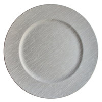 The Jay Companies 13 inch Round Silver Fabric Melamine Charger Plate