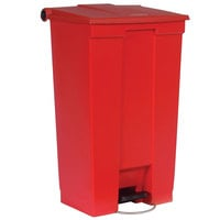 Rubbermaid FG614600RED Red Rectangular Plastic Mobile Step-On Container 23 Gallon