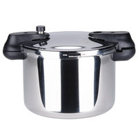 Matfer 013203 34 Cup (17 Cup Raw) 8.5 Qt. (8 Liter) Stainless Steel Pressure Cooker with Steamer Basket